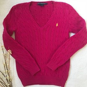 ⭐️RALPH LAUREN PINK CABLE KNIT V NECK SWEATER⭐️